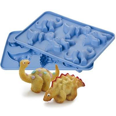 Lakeland Molde de silicona para pasteles de cumpleaños con diseño de dinosaurio en 3D, 6 agujeros, 3 especies