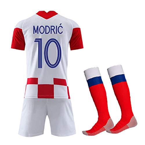 Ropa de fútbol Traje infantil, Modric 10 Rakitić 7 Perišić 4 Camiseta y pantalones cortos de fútbol Jersey, Croacia 2020 local y visitante fan Equipo Entrenamiento Uniforme deportivo-Home No 10-2