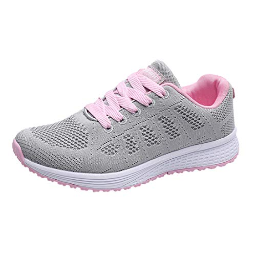 Women Fashion Mesh Cross Bandage Mixed Colors Non-Slip Sneakers Lady Wild Comfortable Athletic&Running Sport Shoes Casual Shoes (Gray, 6-Women-US)
