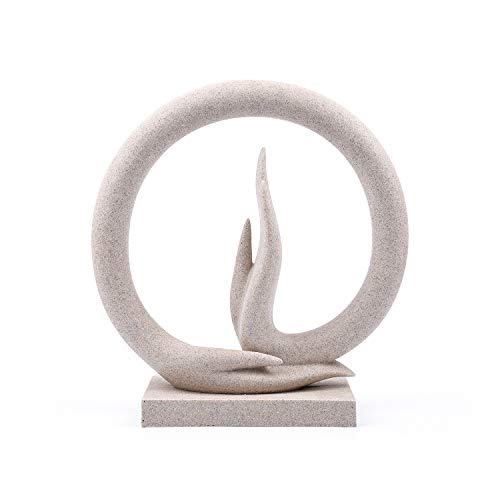 Carefree Fish Buddha Hand Statue Yoga Decoration Minimalist Sandstone Art Collection Abstract Sculpture Desk Ornament(The Base is Made with Buddha Hand)