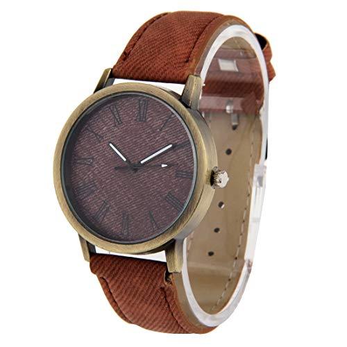 Uhren Denim Textur Stil rundes Zifferblatt Retro Digitalanzeige Damen & Herren-Quarz-Uhr mit PU-Lederband (Pink) Asun (Color : Brown)