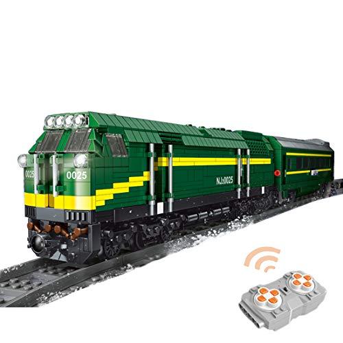 Sunbary Tren de construcción de tren tren tren locomotora, 2,4 GHz/APP teledirigido con juego de rieles, 2086 piezas, juguete de construcción compatible con Lego Technic, Mould King 12001