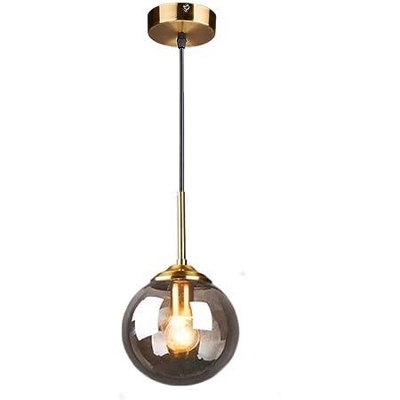 MZStech Globe en verre Loft rétro industriel Suspension, lustre en grappe Lampe suspendue Fixation Raccords en laiton (Gris)