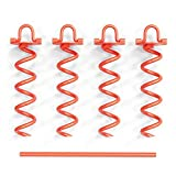 CORQUE Screw In Ground Anchors Heavy Duty with Folding Ring – Orange Powder Coated Steel – 12 Inch, Set of 4 for Swing Sets, Canopies, Trampolines, Camping Tarps, Trapping, Sheds, Dog Tie Out