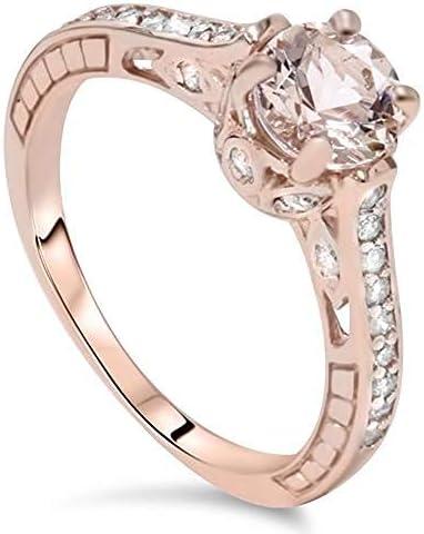 1ct Morganite Diamond Vintage Engagement Ring 14K Rose Gold Size 7 product image
