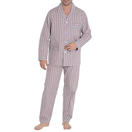 El Búho Nocturno - Pijama Hombre Largo Solapa Popelín Cuadros Granate 100% algodón Talla 5 (XL)