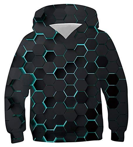 NEWISTAR Hoodie für Jungen und Mädchen 3D-Druck Lustig Kapuzenpull Sweatshirt Kapuzenjacke,Digital (Violett),12-13 Jahre (Tag L)