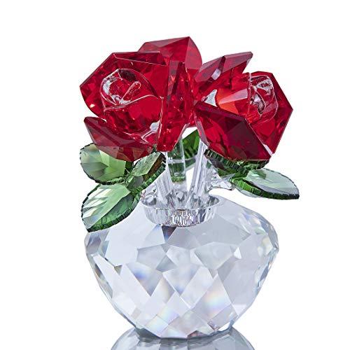 H&D Hyaline & Dora - Decorazione in cristallo a forma di bouquet di rose, in confezione regalo, Vetro, Rosso