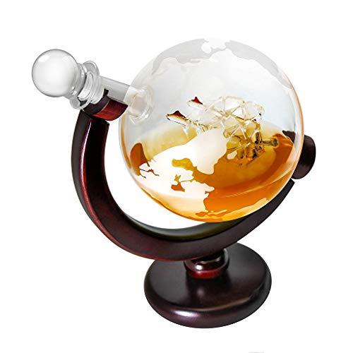 ZRWZZ Grote Glas Wereldkaart Globe Whisky Decanter Wijnkaraf Op Wieg Hand Geblazen geëtst Glas Dranken Decanter Hoogwaardige Glas Fles