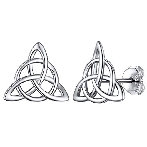 ChicSilver Celtic Trinity Knot Earrings 925 Sterling Silver Vintage Triquetra Triangle Studs Earrings Good Luck Dainty Small Irish Jewelry for Women Girls