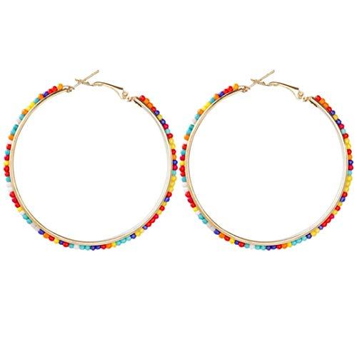 Weryffe Böhmische Große Runde Creolen Für Frauen Stilvolle Goldfarbe Harz Perlen Ohrring Weiblichen Boho Schmuck (Bunt)