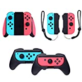 E-TRENDS Joycon Grips Bundle Set Compatible with Nintendo Switch, 3 in 1 Grips Bundle with Comfort Grip, Joy-Con Straps and Handle Grip