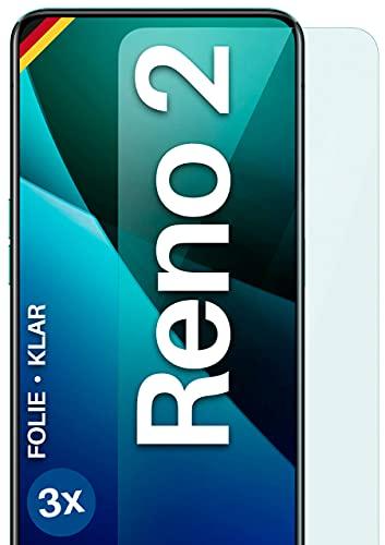 moex Klare Schutzfolie kompatibel mit Oppo Reno2 - Bildschirmfolie kristallklar, HD Bildschirmschutz, dünne Kratzfeste Folie, 3X Stück
