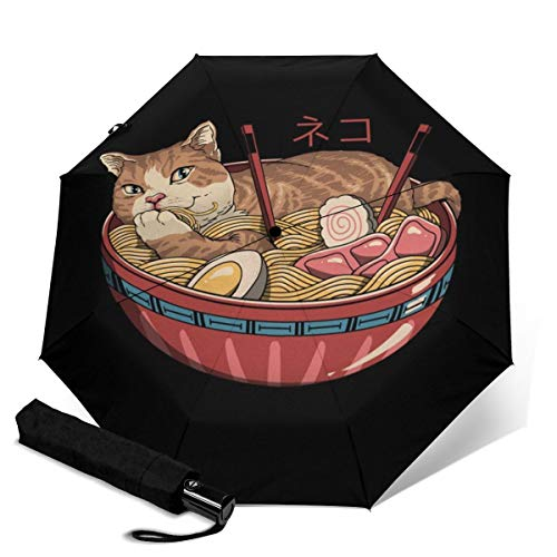 Neko Ramen Umbrella Waterproof Windproof UV Protection Automatic Tri-Fold Umbrella Travel Sunshade Folding Rain Umbrella for Men and Women