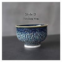 中国の陶磁器ティーカップブルー中国のカンフーカップ (Color : Style D)