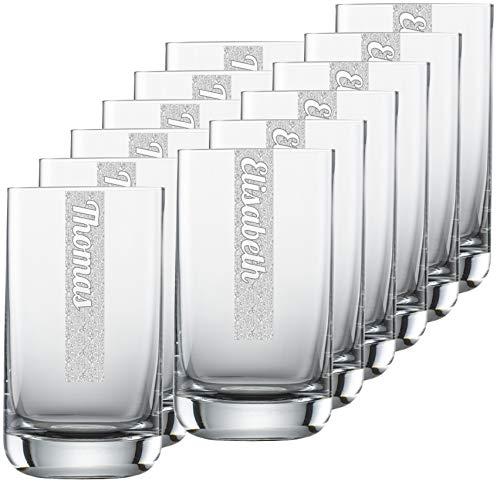 Miriquidi Wasserglas 255ml mit Namen personalisierter Glas Becher - Individuelle Namensgravur 12 Stück