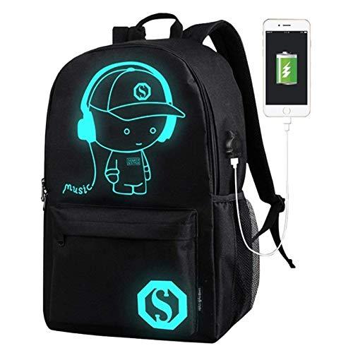 Anime Cartoon Luminous Backpack Mochila de Moda con Puerto de Carga USB y Estuche Antirrobo de Bloqueo y Lápiz, Mochila Escolar Unisex Bookbag (A, L)