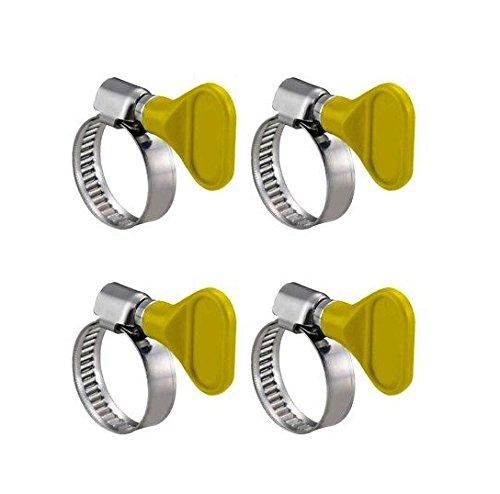 Takestop® Juego de 4piezas tope stringi Tubo 32mm abrazaderas abrazaderas para mangueras de acero sin tornillo tornillos con mariposa para agua Tubo Gas