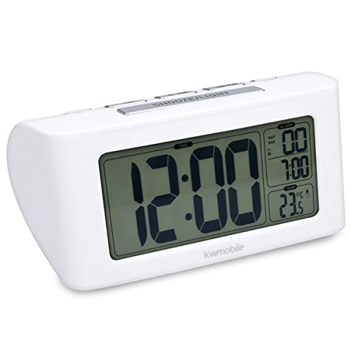 kwmobile Digital Alarm Clock Battery Operated - Cordless Bedside Table Clock...