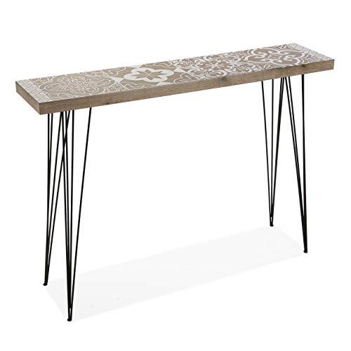 Versa Lygia wąski mebel do przedpokoju lub korytarza, nowoczesny stolik konsolowy, wymiary (wys. x dł. x szer.) 80 x 25 x 110 cm, drewno i metal, kolor: brązowy i biały