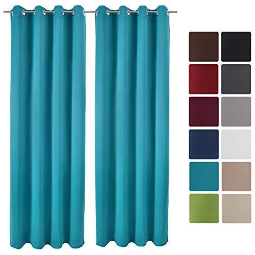 cortinas habitacion traslucida turquesa