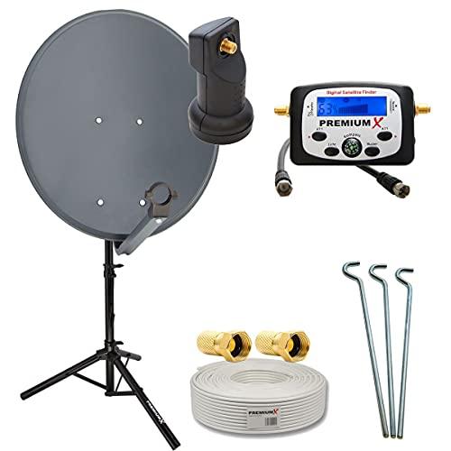 PremiumX Camping Satelliten-Komplettanlage 60cm Antenne Single LNB Sat-Finder 10m Kabel F-Stecker Dreibein-Stativ