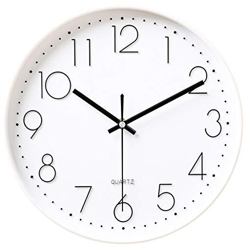 Everyday home Opération de batterie d'horloge murale créative silencieuse d'horloge moderne ronde d'opération facile à lire horloge de quartz (Couleur : White1, taille : 12 pouces)