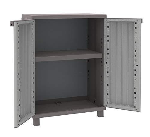 Terry, JWood 68, Schrank mit 2 Türen in Holz-Optik, 1 bewegbarer Einlegeboden, für den Innen- und Außenbereich. Farbe: Grau/Taubengrau, Material: Kunststoff, Größe: 68x37,5x91,5 cm