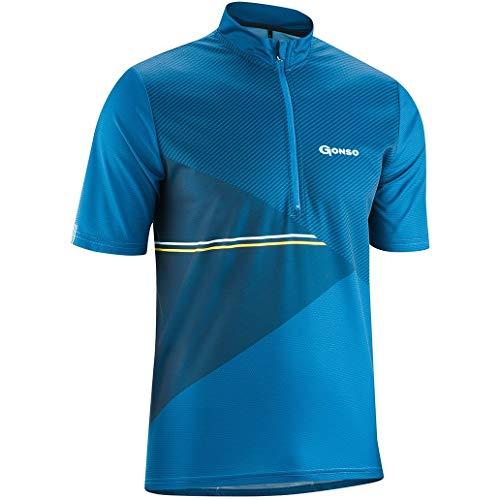 Gonso Ripo Herren Kurzarm Fahrrad Bike Trikot Shirt, Blau, 6XL