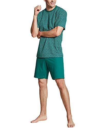 CALIDA Herren Relax Imprint 4 kurz Pyjamaset, Everglade, 52-54
