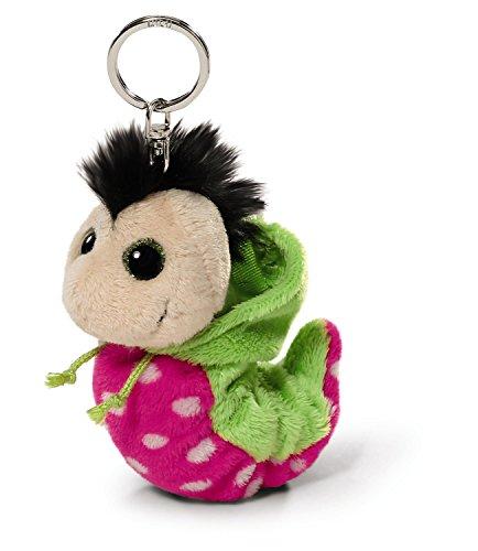 NICI 38477 - Flibbie Schlüsselanhänger mit Kapuze, 12 cm, pink mit weissen Tupfen/grün