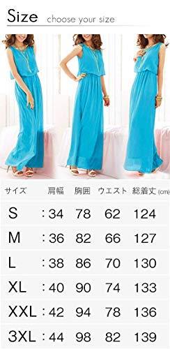『[ニーマンバイ] レディース ロング ふんわり シフォン マキシ丈 ワンピース S~3XL』の5枚目の画像