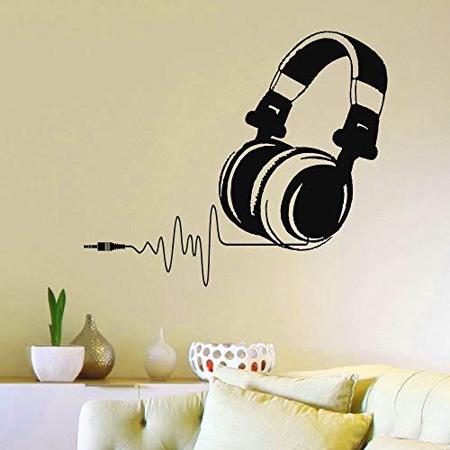 BailongXiao Hot Vinyl Wandtattoo Kopfhörer Audio Musik Puls Applique Kunstwandhauptdekoration Entfernbare Wandaufkleber 117x102 cm