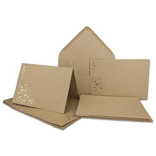 Faltkarten-Set mit Umschlägen DIN A6 - Sandbraun Kraftpapier mit goldenen Metallic Sternen - 10 Sets - Drucker geeignet Ideal für Weihnachtskarten