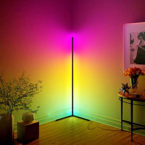 JVMU Corner-Lamp RGB-Changing Dimmable Smart-Control - 56' Minimalist Style Decoration Lamp, Colorful Lamp for Living Room Bedroom with Remote Controller (Minimalist)