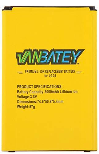 Vanbatey Replacement Battery for LG G3 D855 D857 D858 D859 F400 F460 LS900 VS985, BL-53YH 3000mAh