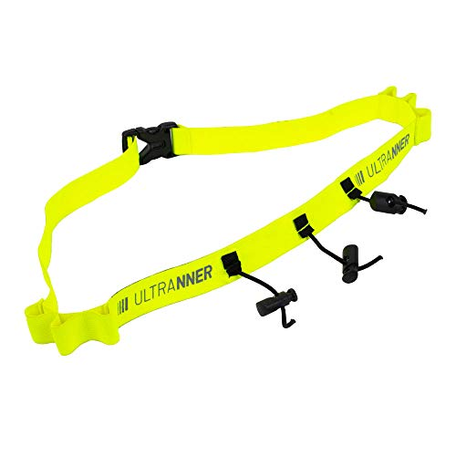 ULTRANNER PUMARI - Cinturón portadorsal para Triatlón Maratón y Otras Competiciones - Color Amarillo Flúor