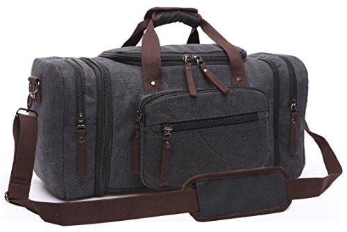 Aidonger Unisex Canvas Groß Reisetasche Großräumige Handtasche Sporttasche Schultertasche Handgepäck für Damen und Herren(Schwarz-04)