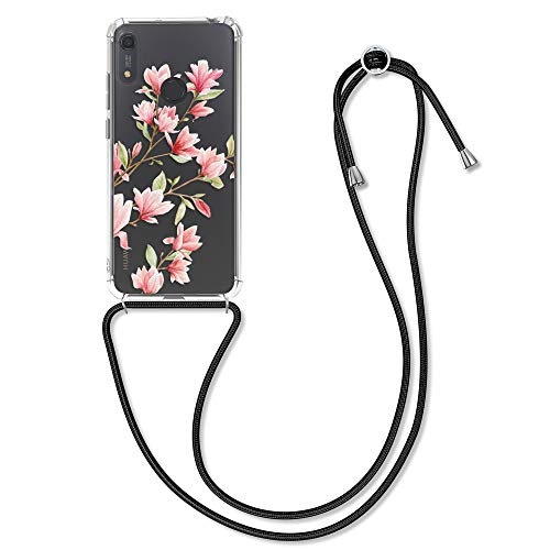 kwmobile Hülle kompatibel mit Huawei Y6s (2019) - mit Kordel zum Umhängen - Silikon Handy Schutzhülle Magnolien Rosa Weiß Transparent
