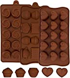 MYCKstore- 3 Moldes Silicona de chocolate, Moldes Silicona Horno flexible para bombones ideal decoración, Diseño corazones, rosas, 6 figuras
