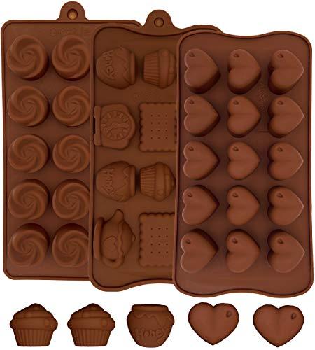 MYCKstore- 3 Moldes Silicona de chocolate, Moldes Silicona Horno flexible para bombones...