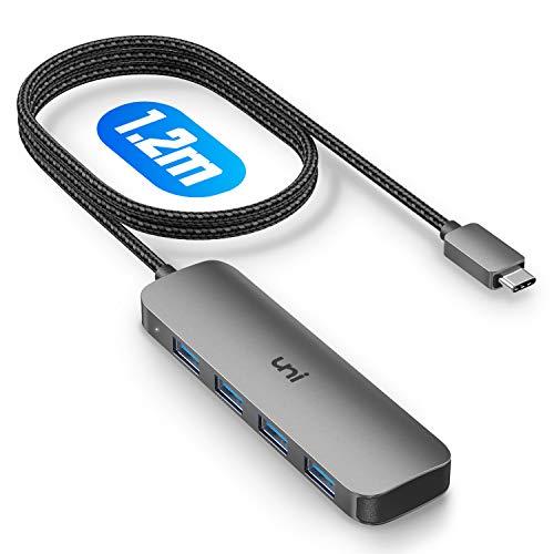 USB C ハブ [1.2メートル]uni Type C ハブ 延長 [USB3.1 Gen1 4ポート USB Type C ハブ] バスパワーハブ 高速データ転送 スリム設計 MacBook Pro Air/iPad Pro/Windows/AndroidなどのタイプC 変換 パソコンに在宅勤務対応 [スペースグレー]