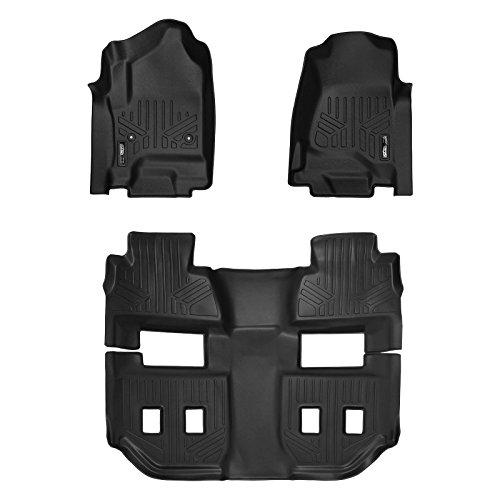 SMARTLINER Floor Mats 3 Row Liner Set Black for 2015-2020 Chevrolet Suburban / GMC Yukon XL (with 2nd Row Bucket Seats)