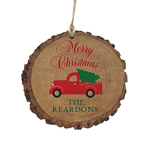 GiftsForYouNow Red Truck Merry Christmas Rustic Personalized Ornament