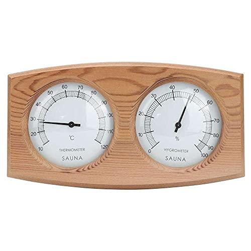 Gmasuber Sauna-Hygrothermograph, Holz, 2-in-1 Spa-Thermo-Hygrometer, langlebig, verschleißfest, Sauna-Zubehör