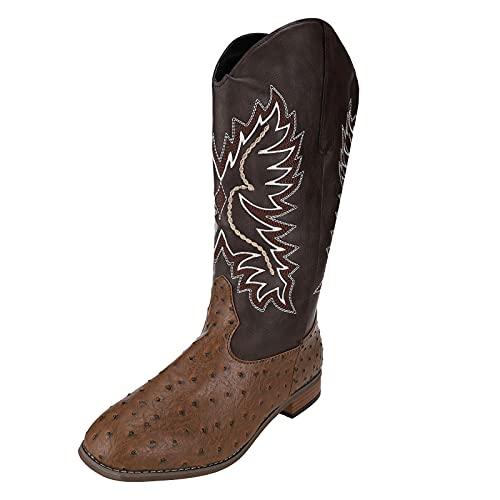 Dasongff Botas de cowboy para mujer, con tacón en bloque, bordados, botas de motorista, botas de cowboy de equitación, botas de equitación, botas de mujer de alta calidad con forma normal