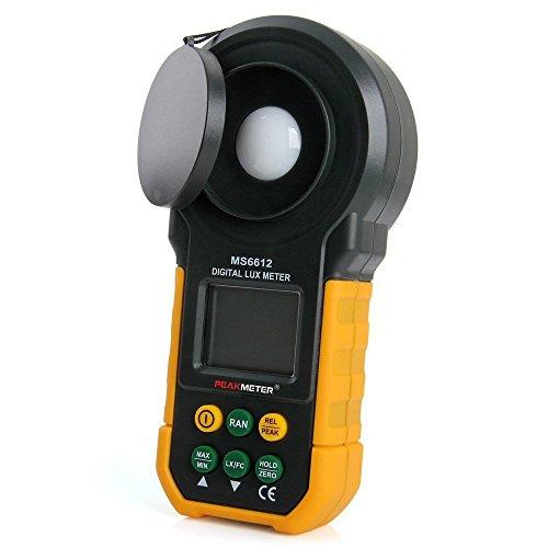 Luxómetro, Protmex MS6612 medidor de luz 2000 counts 0-200000 Lux/0 - 20000 FC (0.01Lux/0.01fc) Medidor Lumenmeter Lux/FC metros luminometer con rango de Manual automático, Max/Min, Data Hold