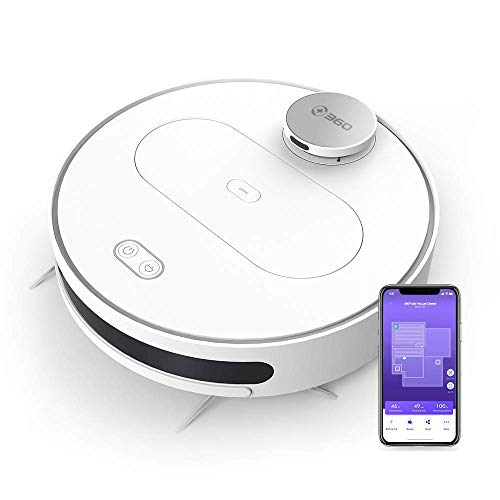 (Renewed) 360 S6 Robotic Vacuum Cleaner with Wet Mopping Function APP Control, LDS, Intelligent Navigation, 1800Pa Suction Power, HEPA Filter for Animal Hair, Carpets and Hard Floors (White)