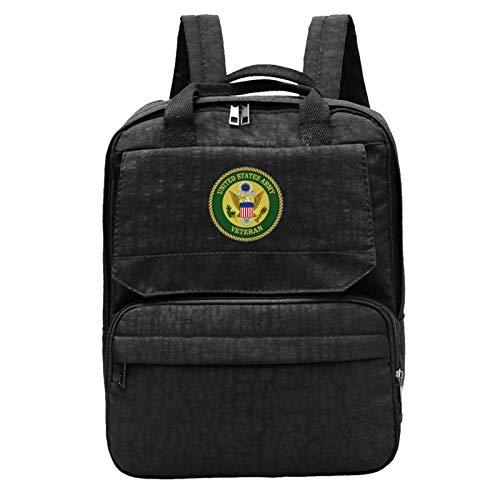 Us Army Veteran Unisex Travel Backpacks, Men and Woman Fashion Canvas Outdoor Notebook Backpack Bundled Backpack for Boys and Girl
