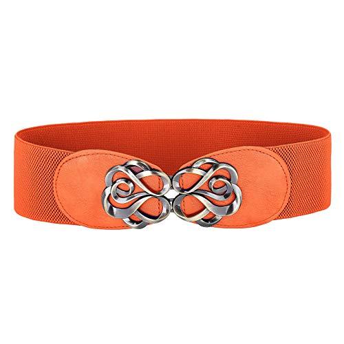 Women Stretchy Vintage Dress Belt Elastic Waist Cinch Belt CL413, Orange, Small